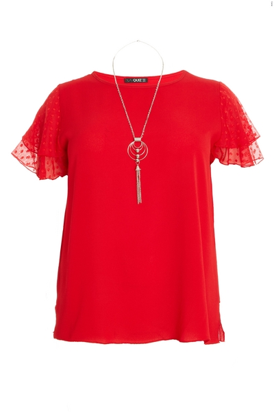 Curve Red Frill Necklace Top